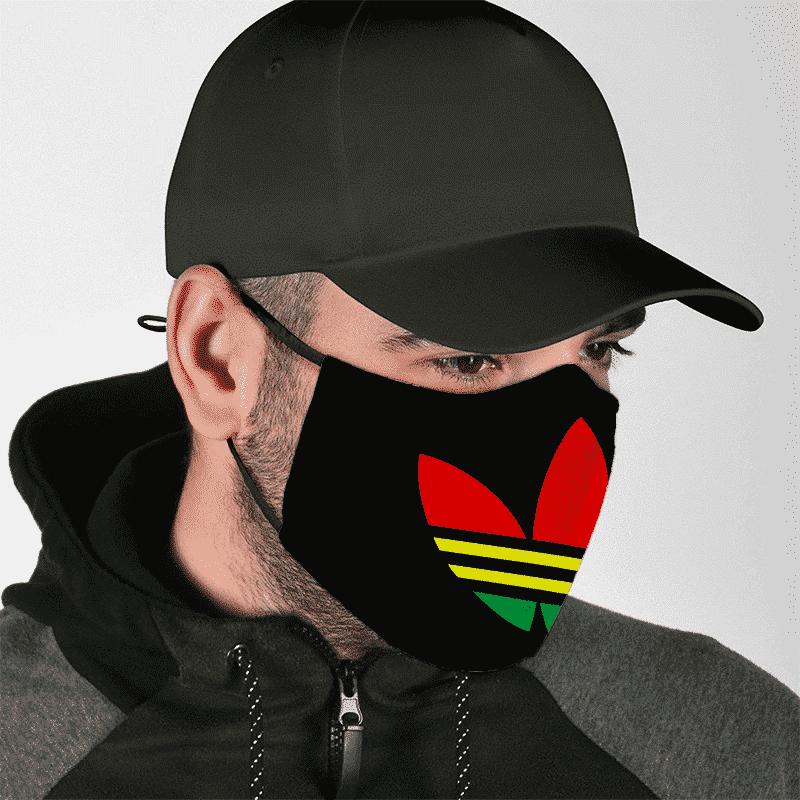 Weed Marijuana Adidas Inspired Reggae Logo Face Mask