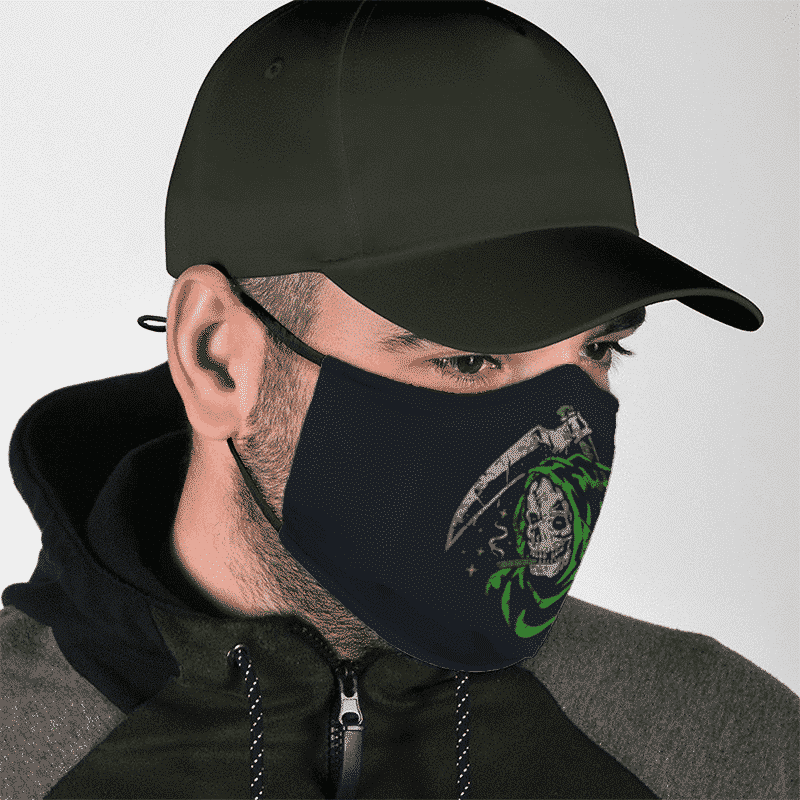 Weed Smoking Stoner Grim Reaper Green Dope Face Mask