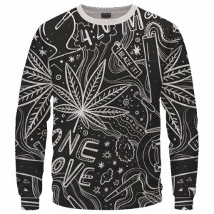 420 Blaze It One Love Marijuana Black And White Dope Crewneck Sweatshirt