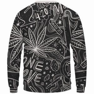 420 Blaze It One Love Marijuana Black And White Dope Crewneck Sweatshirt - Back Mockup