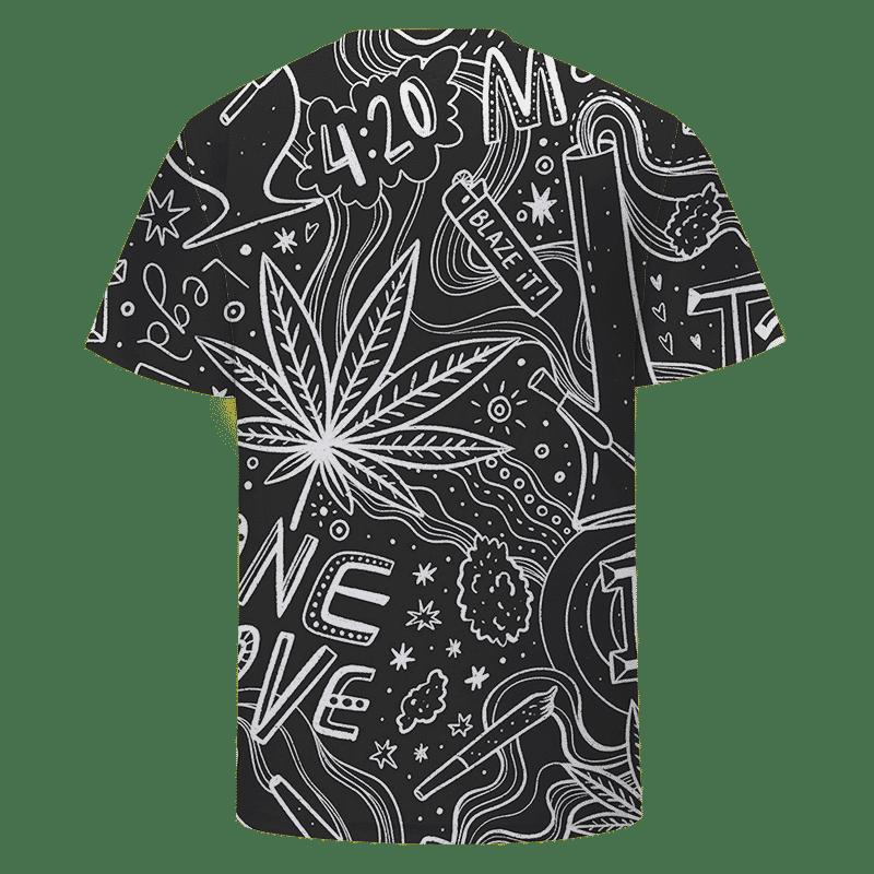 420 Blaze It One Love Marijuana Black And White Dope T-shirt