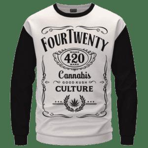 420 Wake And Bake Cannabis Kush Dope Cool White Crewneck Sweater - Front Mockup