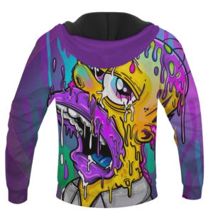 Acid LSD Homer Simpson Stoned Melted Artistic Hoodie - BACK