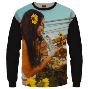 Beautiful Girl Smoking Bong Hit Dabs Cool Sweater