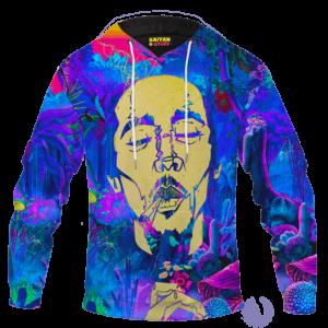 Bob Marley Trippy Nature 420 Marijuana Weed Adult Pullover Hoodie