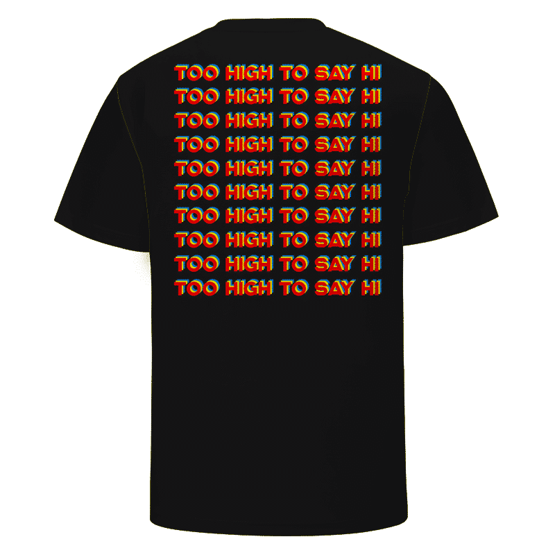 Bong Space Ship Stoner Alien Marijuana Too High To Say Hi Black T-shirt