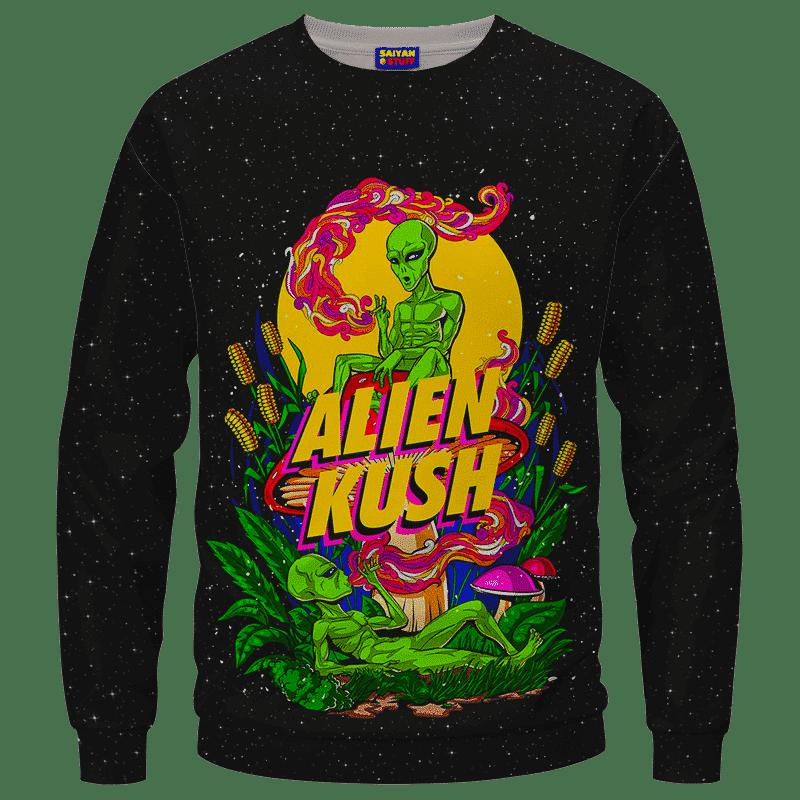 Calming Potent Alien Kush Indica Dominant Hybrid Marijuana Crewneck Sweater