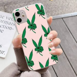 Cannabis Leaves Bring Peace Transparent iPhone 12 Case