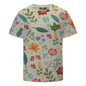 Cute Floral Pattern Marijuana Logo Summer Cool T-shirt