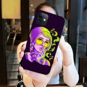 Cute Purple Hippie Smoking Marijuana iPhone 12 Case