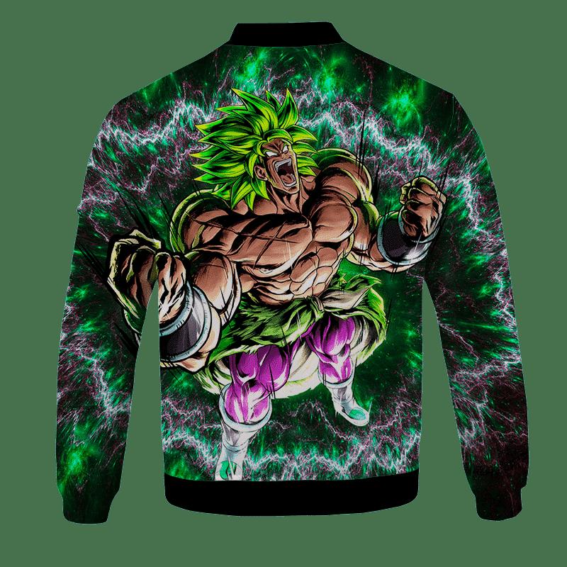 DBZ Broly Charging Awesome Art Green Black Bomber Jacket - back