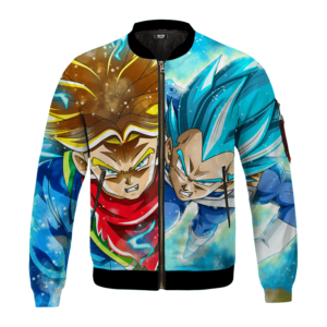 DBZ Father And Son Future Trunks Vegeta Super Saiyan Blue Bomber Jacket