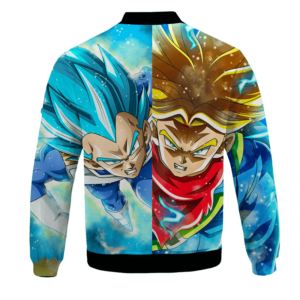 DBZ Father And Son Future Trunks Vegeta Super Saiyan Blue Bomber Jacket - back