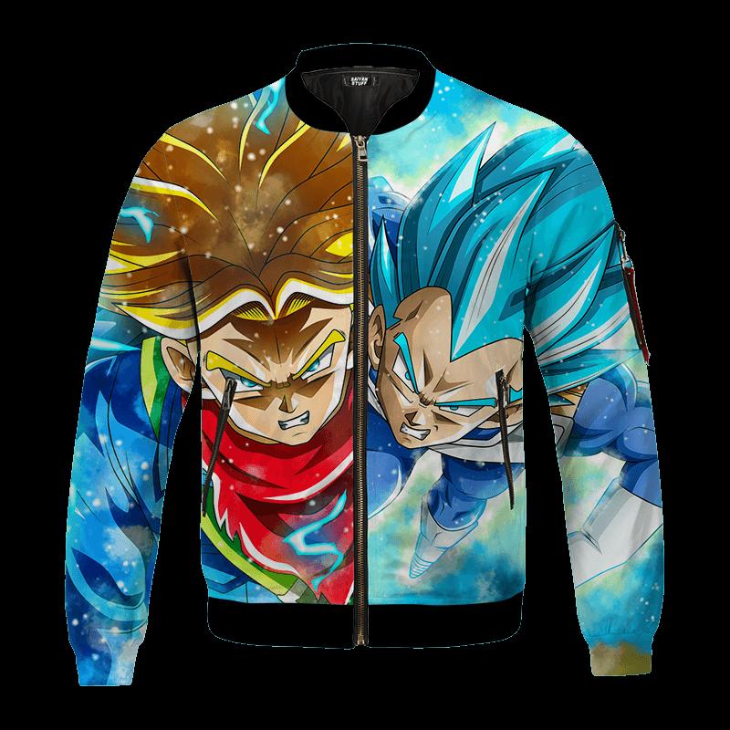 DBZ Father And Son Future Trunks Vegeta Super Saiyan Blue Bomber Jacket