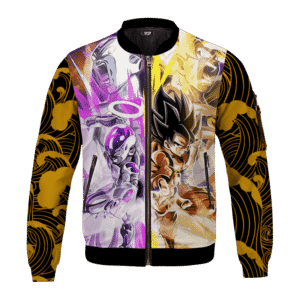 DBZ Frieza And Goku Awesome Pose Yellow Waves Cool Bomber Jacket