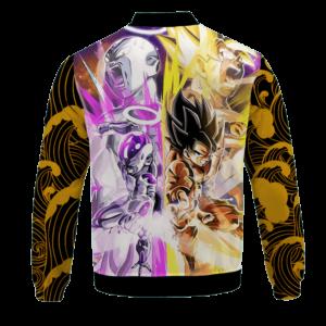 DBZ Frieza And Goku Awesome Pose Yellow Waves Cool Bomber Jacket