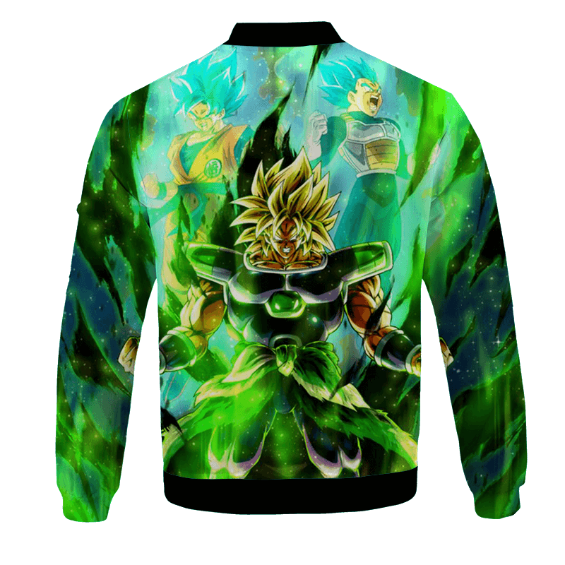 DBZ Gogeta Vs Broly Anime Art All Over Print Green Bomber Jacket