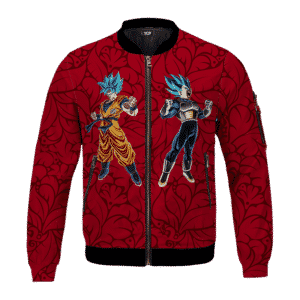 DBZ Goku Vegeta Mad Super Saiyan Blue Floral Red Cool Bomber Jacket