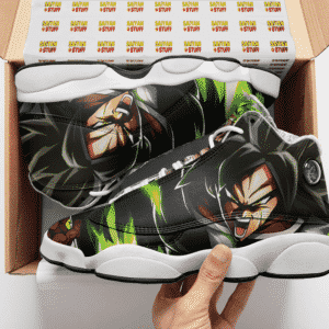 DBZ Legendary Saiyan Broly Charged Up Awesome Cool Basketball Shoes - Mockup 2