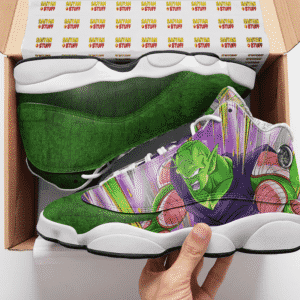 DBZ Piccolo Awesome Dokkan Art Green Basketball Sneakers - Mockup 2