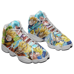 DBZ Super Saiyan Goku And Vegeta All Over Print Basketball Sneakers - Mockup 1