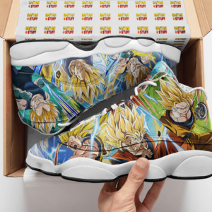 DBZ Super Saiyan Goku And Vegeta All Over Print Basketball Sneakers - Mockup 2