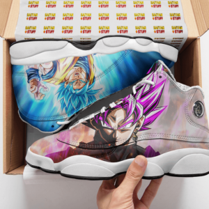 DBZ Super Saiyan Rose Blue Goku Cool Basketball Shoes - Mockup 2