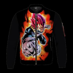 DBZ Vegeta Super Saiyan God Awesome Art Black Bomber Jacket