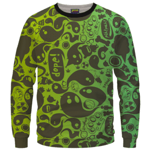 Dope Weed Cartoon Doodle Art 420 Marijuna Crewneck Sweatshirt