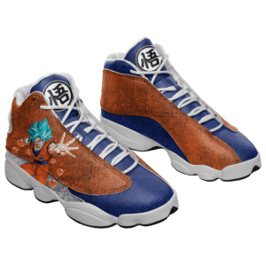 Dragon Ball Goku Blue Kanji Logo Cool Basketball Shoes - Mockup 1