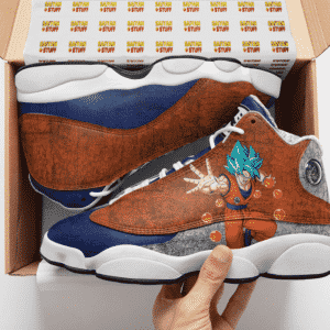 Dragon Ball Goku Blue Kanji Logo Cool Basketball Shoes - Mockup 2