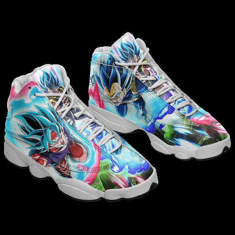 Dragon Ball Saiyan Blue Goku Vegeta Gogeta Basketball Sneakers - Mockup 1