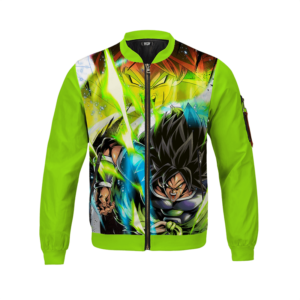 Dragon Ball Z Broly Fury Colorful Graphic Mint Bomber Jacket