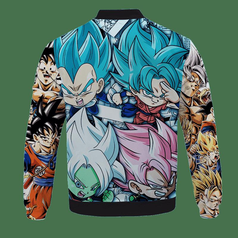 Dragon Ball Z Goku Kakarot Chibi Comic Art Saiyan Bomber Jacket - back