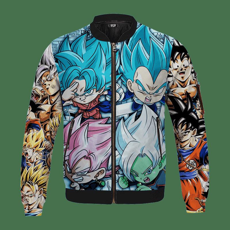 Dragon Ball Z Goku Kakarot Chibi Comic Art Saiyan Bomber Jacket