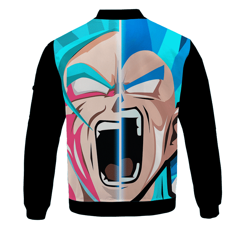 Dragon Ball Z Goku Vegeta Super Saiyan Blue Vector Art Bomber Jacket - back