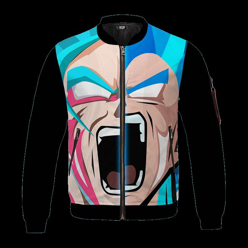 Dragon Ball Z Goku Vegeta Super Saiyan Blue Vector Art Bomber Jacket