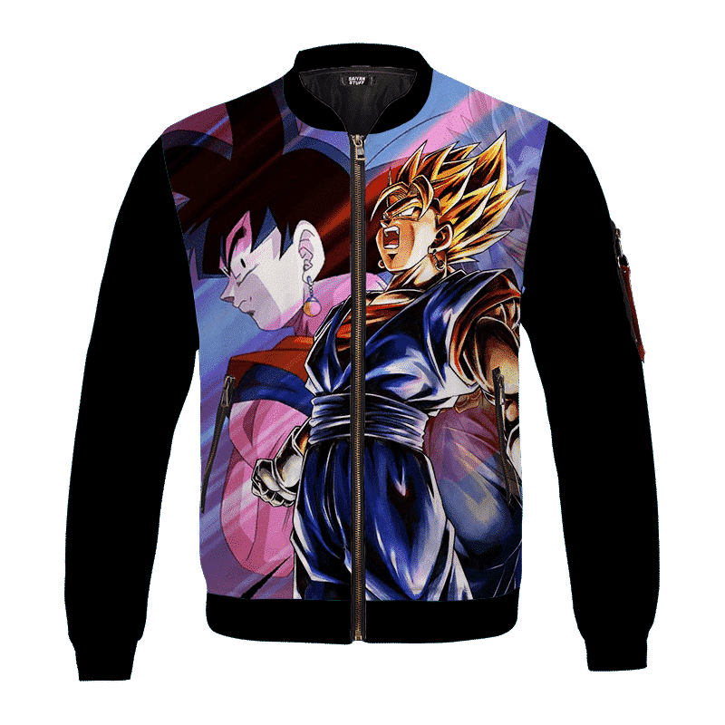 Dragon Ball Z Goku Vegito Super Saiyan Minimalist Black Bomber Jacket