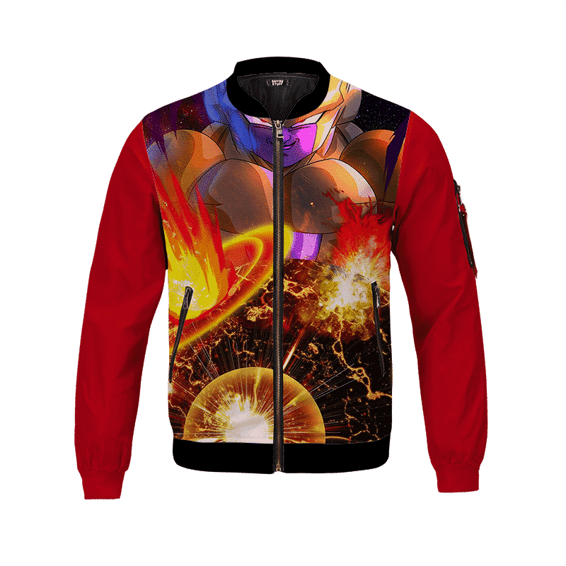 Dragon Ball Z Golden Frieza Blows A Planet Bomber Jacket
