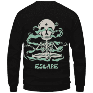 Escape Dope Art Skull Smoking 420 Marijuana Crewneck Sweatshirt Back