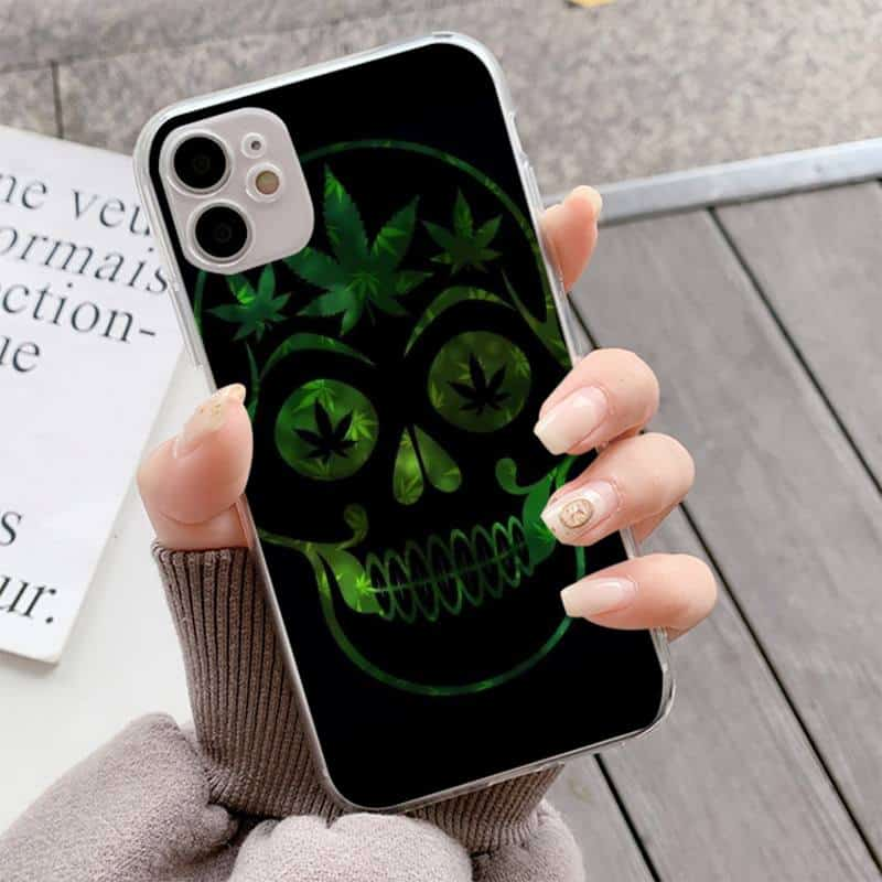Green & Black Weed-Eyed Skull Print iPhone 12 Case