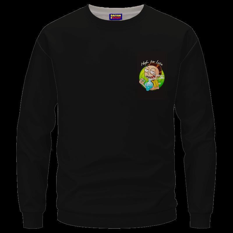High for Life Adventures of Morty 420 Marijuana Crewneck Sweater