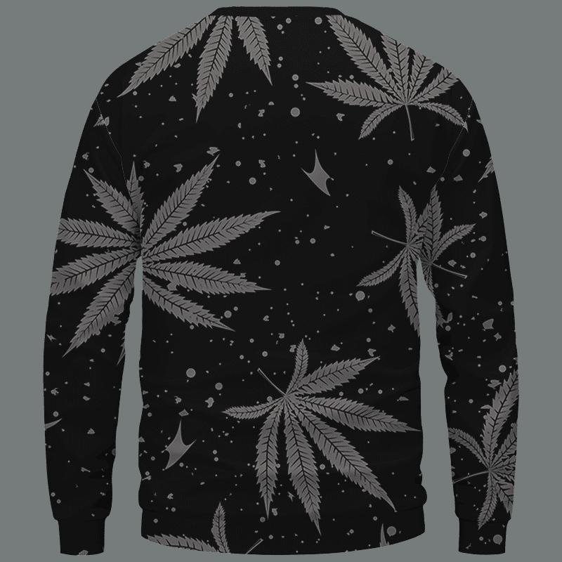 Hippie Skull Awesome Marijuana Leaves Pattern Dope Black Crewneck Sweater - Back Mockup