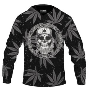 Hippie Skull Awesome Marijuana Leaves Pattern Dope Black Hoodie