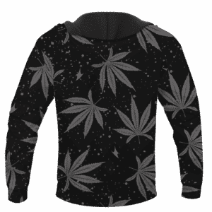 Hippie Skull Awesome Marijuana Leaves Pattern Dope Black Hoodie - BACK