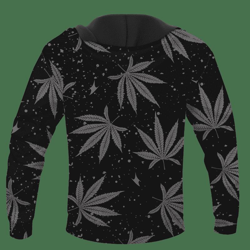Hippie Skull Awesome Marijuana Leaves Pattern Dope Black Hoodie - BACK