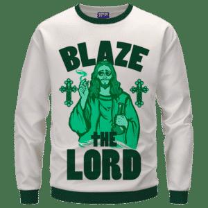 Jesus Smokes Blaze The Lord Funny Art 420 Marijuana Adult Crewneck Sweatshirt
