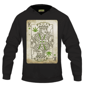 King Of Marijuana Card Awesome 420 Weed Black Hoodie
