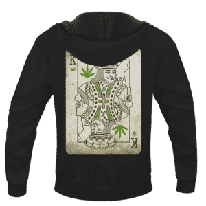 King Of Marijuana Card Awesome 420 Weed Black Hoodie - BACK