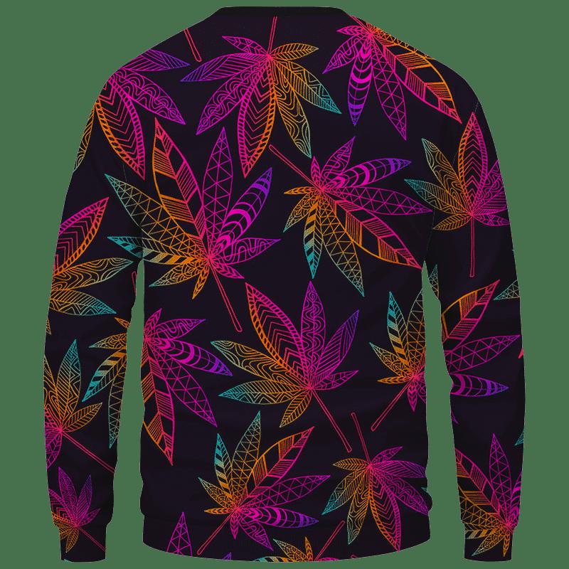 Marijuana Leaf Trippy Colors All Over Print Cool Sweatshirt - Back Mockup